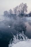 Winter landscape with river and frozen trees - 213291409