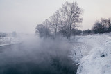 Winter landscape with river and frozen trees - 213291414