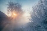Landscape with frozen river - 213291497