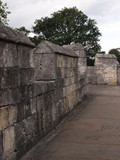 The historic fortified York Wall made of carved stone  - 213295491