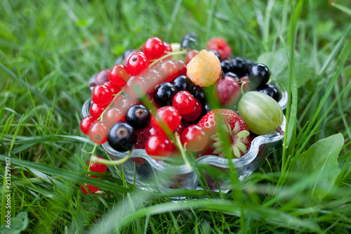 Foto Murales fresh organic fruits in a glass bowl on green grass