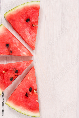 Watermelon containing vitamins and minerals, healthy dessert, copy space for text
