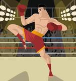 kickboxing fighter knee kick - 213314089