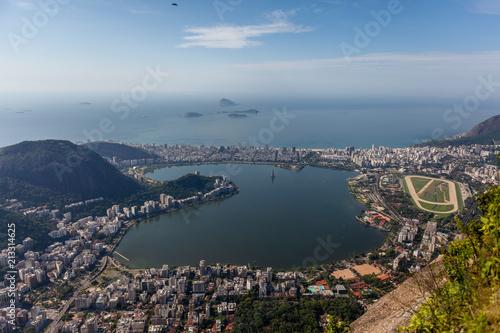 View on the city lake and ocean coast of Rio de Janeiro
