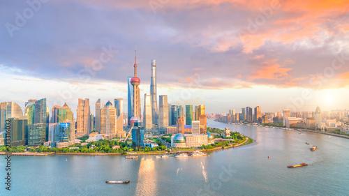 Foto Spatwand Shanghai View of downtown Shanghai skyline