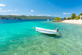 blue adriatic sea with boat on Peljesac peninsula in Dalmatia, Croatia - 213318417