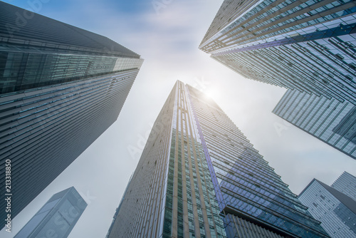 Fototapeta Contemporary Architecture Office Building Cityscape Personal Perspective Concept