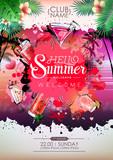 Summer Cocktail party poster design. Cocktail menu - 213325669