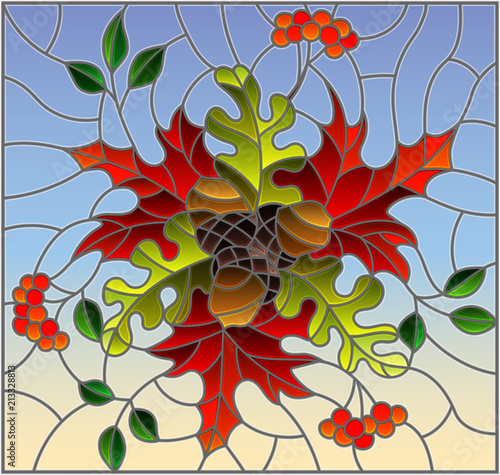 illustration-in-stained-glass-style-with-autumn-composition-bright-leaves-and-fruits-on-blue-background-rectangular-image