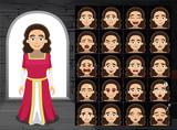 Medieval Lady Cartoon Emotion Faces Vector Illustration - 213333241