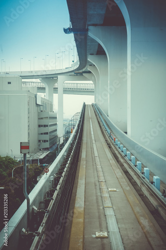 Monorail on Rainbow bridge, Tokyo, Japan