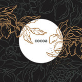 Vector nature template. Card of cocoa tree