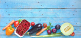Vegetables and fruit, healthy food, flat lay, good copy space - 213337209