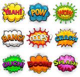 Multicolored comic speech bubbles sound effects. Illustration
