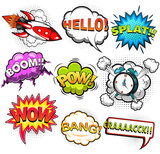 Comic speech bubbles. Rocket. Alarm clock. Sound effects. Illustration