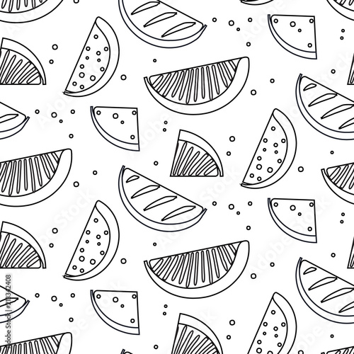 Watermelon summre fruit black white concept. Fern botanical scandinavian sketch pattern. Retro line art tropical print. Geometric trendy vintage sketch food. Healthy organic texture background - 213342408