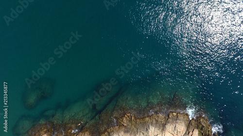 Foto Murales Rock and sea, aerial view