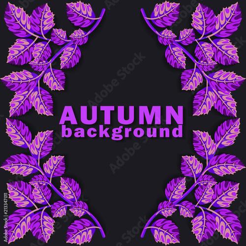 Jesieni tło z purpurowymi liśćmi na ciemnym tle. Ilustracji wektorowych.