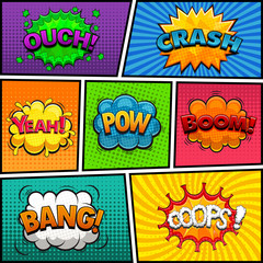 Comic speech bubbles background divided by lines illustration
