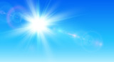 Sunny background, blue sky with sun and lens flare - 213350079