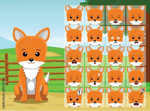 Fototapeta Farm Fox Cartoon Emotion faces Vector Illustration