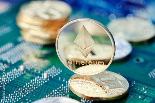 Leinwanddruck Bild Stack of cryptocurrencies on motherboard. Bitcoin as most important cryptocurrency concept. 3D illustration