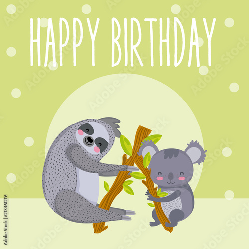 Sticker Happy birthday cute animal card