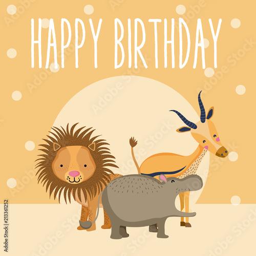 Fototapeta Happy birthday cute animal card