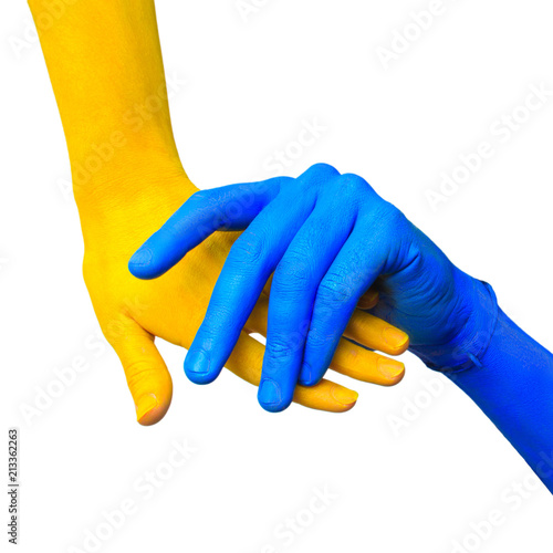 Fotobehang Kiev image of colored hands in different pose