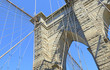 Closeup of Brooklyn Bridge over East River, New York City, USA