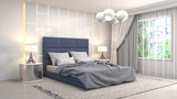 Bedroom interior. 3d illustration - 213364411