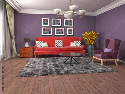 Wnętrze salonu. 3D ilustracji