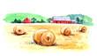 Rural landscape. Watercolor illustration