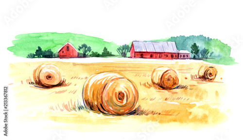 Canvas Wit Rural landscape. Watercolor illustration