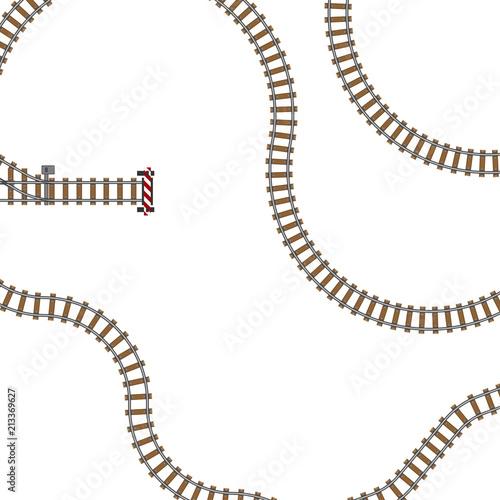 vector illustration of railway parts grey rails maintenance concrete