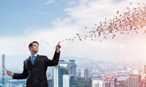 Leinwanddruck Bild Business inspiration of young man