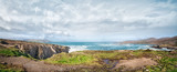 Beautiful panoramic landscape with rocks and ocean shore
