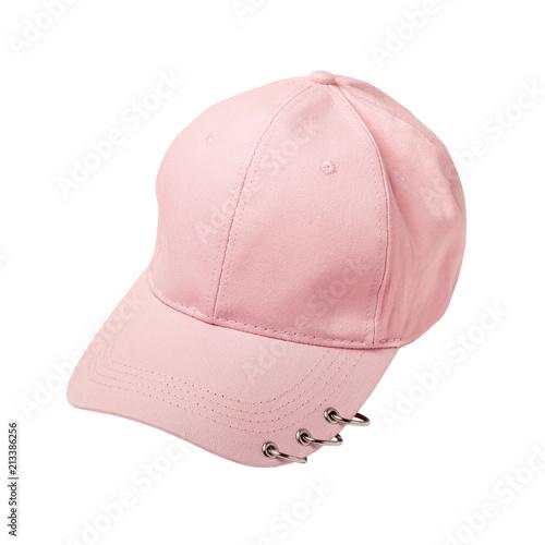 Puste różowe baseball cap z pierścieniami na białym