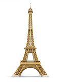 Eiffel Tower golden isolated on a white background - 213388622