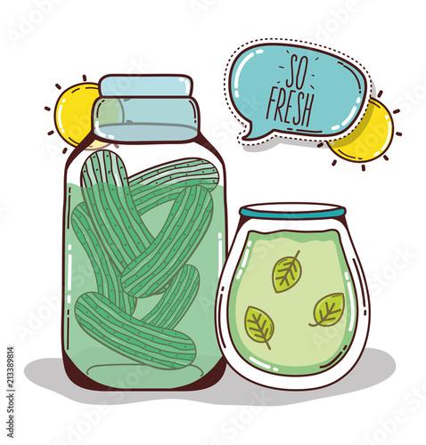 Fototapeta Detox juice cartoon