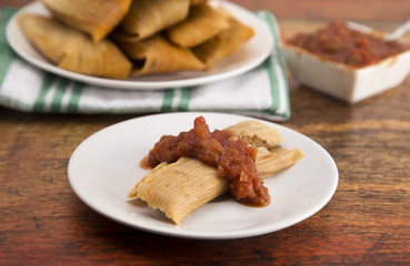 Homemade Tamale Unwrapped and On a Plate with Salsa