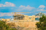 Athens acropolis viewed from Filopappou Hill or Hill of the Muses - 213398265