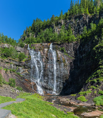 View of the Skjervsfossen waterfal. National park Hardangervidda, Norway, Europe.