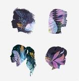 Face silhouettes floral blue tones - 213409684