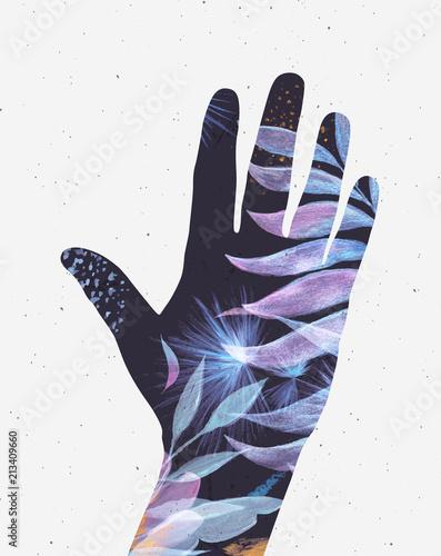 Hand silhouette floral blue tones - 213409660