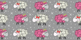 Vector seamless pattern with a sheep. Illustration of a cartoon sheep. Prints for textiles. Substrate for children's wallpaper.