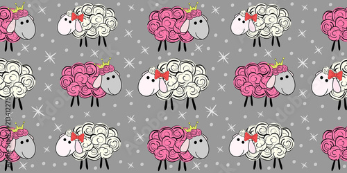 obraz PCV Vector seamless pattern with a sheep. Illustration of a cartoon sheep. Prints for textiles. Substrate for children's wallpaper.