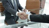 financial partners handshake after signing contract - 213413481