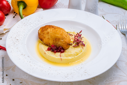 Canvas Kiev chicken Kiev cutlet with mashed potatoes