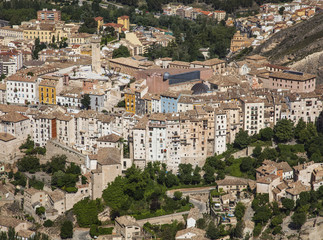 Far view of the medieval skyscrapers, Cuenca, Spain